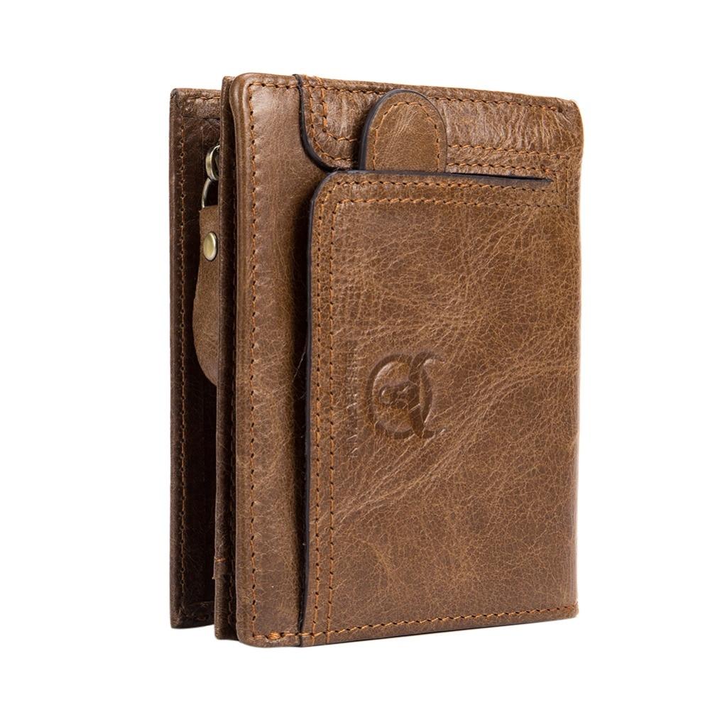 BULLCAPTAIN Men Wallet Cowhide Coin Purse Bag for Male Brand