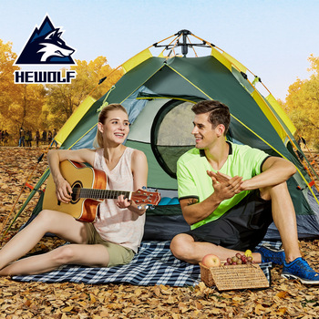 Hewolf Automatic Camping Equipment 3-4 Person Use Waterproof Professional Three-use/Dual-use Camping Tent