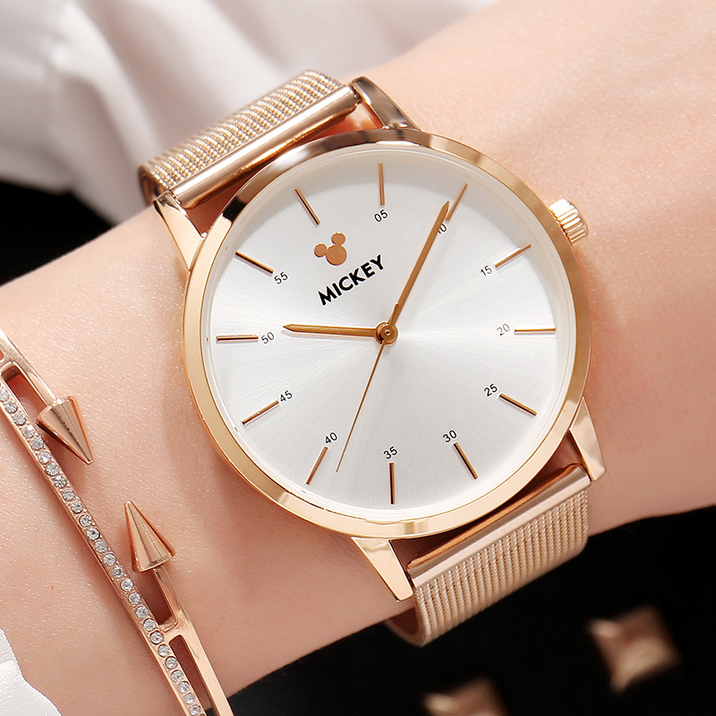 Stainless Steel High Qualit Disney Mickey Mouse Gold Watch