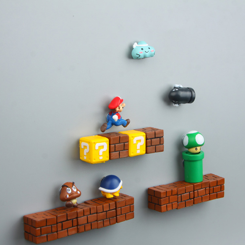 New 3D Super Mario CartoonMagnetic Refrigerator Stickers Home Decor Message Information Fridge Magnet