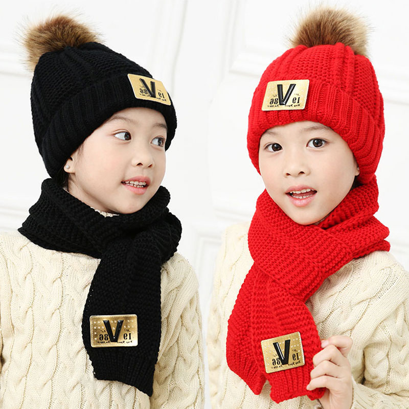 Winter Hat And Scarf Set For Children Girls Kids Cap Scarves Sets Boys Thick Ribbed Cable Fur Pom Pom Cap Warm 2 Pcs Suit M5263