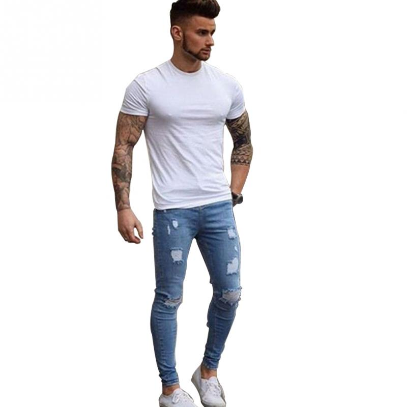 Men Jeans Casual Stretch Pencil Pants Denim Ripped Middle Waist Slim Fit Fashion Jeans