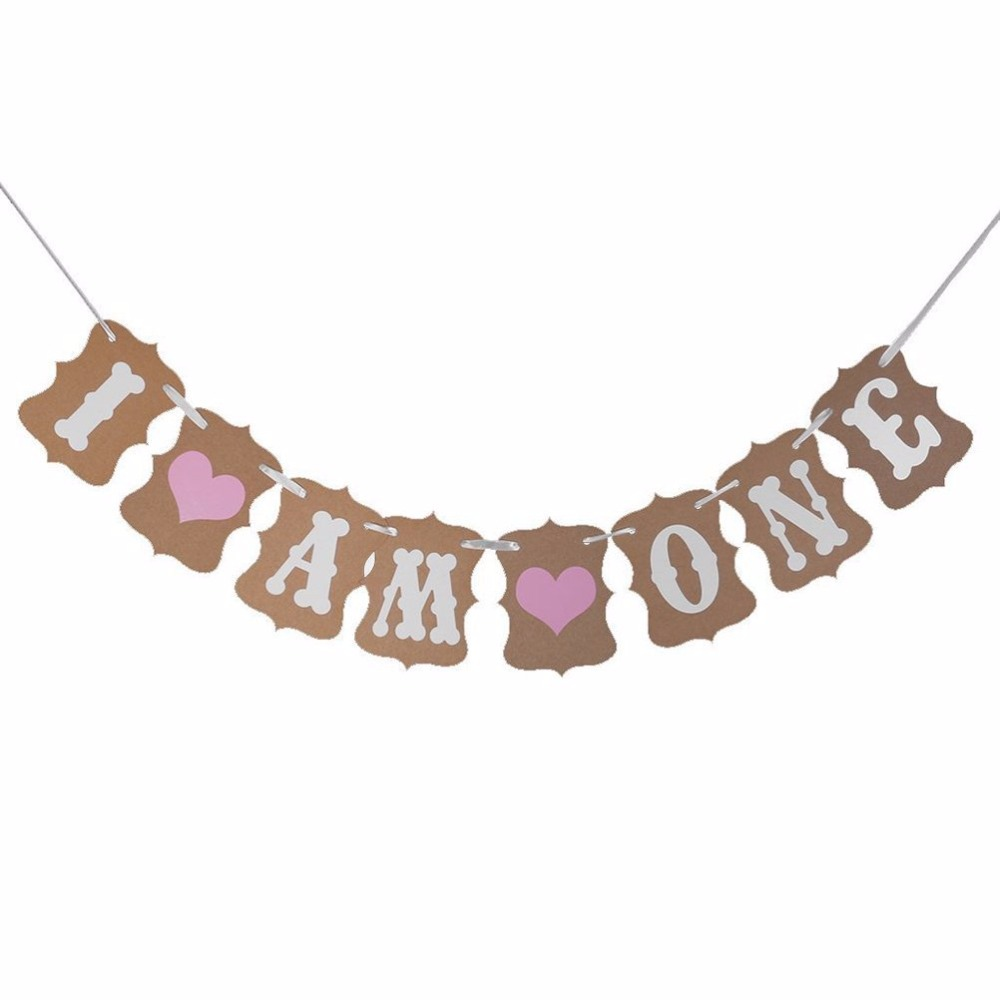 I AM ONE Baby Bunting Garland Banner Shower Party Baptism Decoration Centerpieces Favor Gifts P