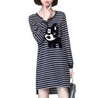 2017 Fashion Casual Striped Dress Plus Size L 5XL Irregular Long Sleeve Cartoon Dog Loose Dress