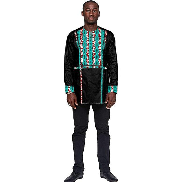 Африканской печати топы мужская мода черный и африканские картины лоскутное дизайн dashiki рубашки африки clothing