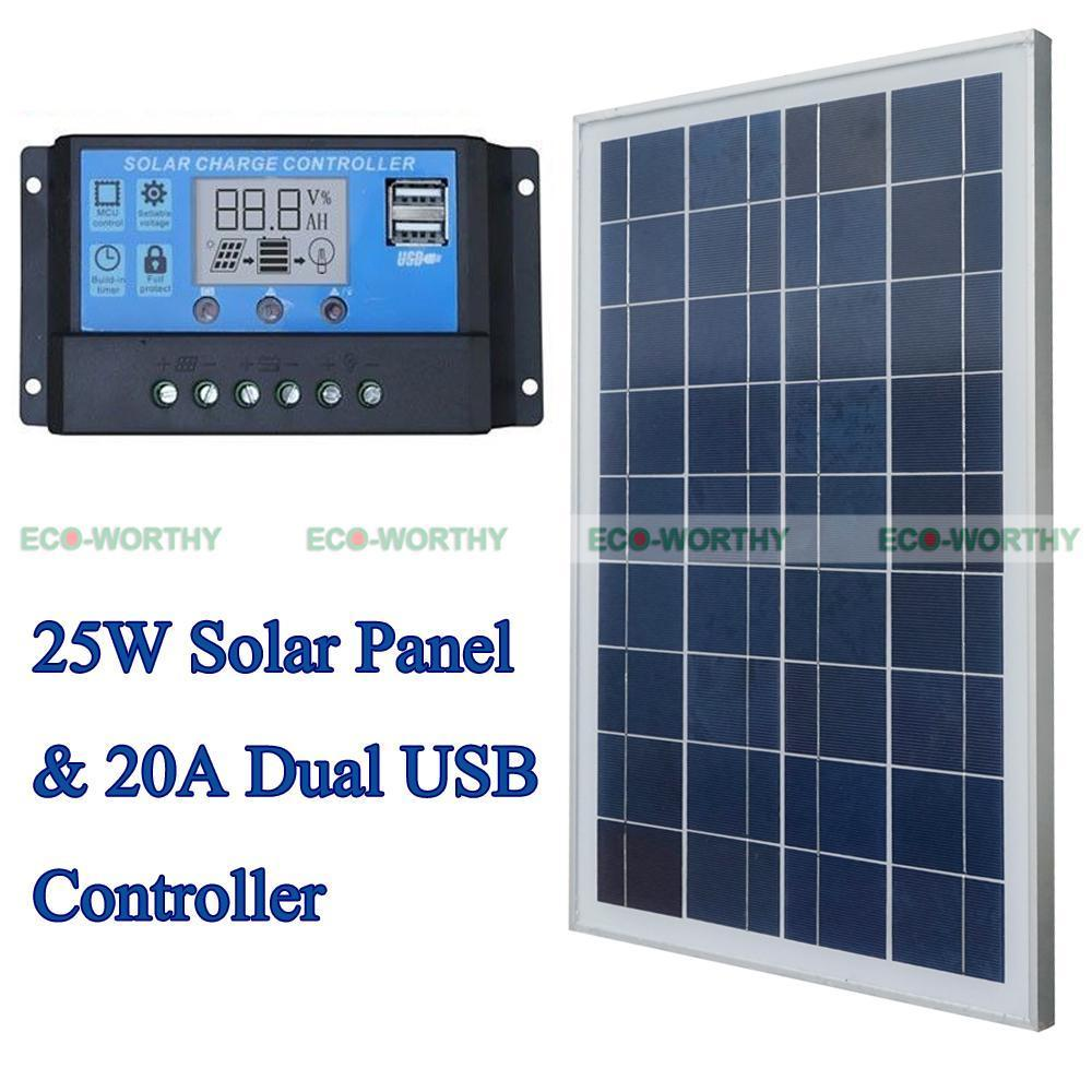 Solar Kits 25W 12V Polycrystalline Solar Panel with 20A PWM Solar Charge Controller Ruglator for Solar Home Use Solar Generators