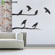 6 Crow Flying and Sitting On the Tree Wall Sticker For Corner Wall Decor Removable Vinyl Tree Branches Wall Decal Mural A604