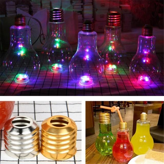 Light Bulb Beverage Milky Tea Fruit Juice Drink Bottle With Lid Terrarium for Home Shop Tea with Milk Lamp Bulb Juice Bott