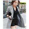 Suit Blazers 2017 Fashion Women Slim Office Ladies Uniform Long Sleeve Spring Jacket Female Grey V-Neck Long Over Coats Korean