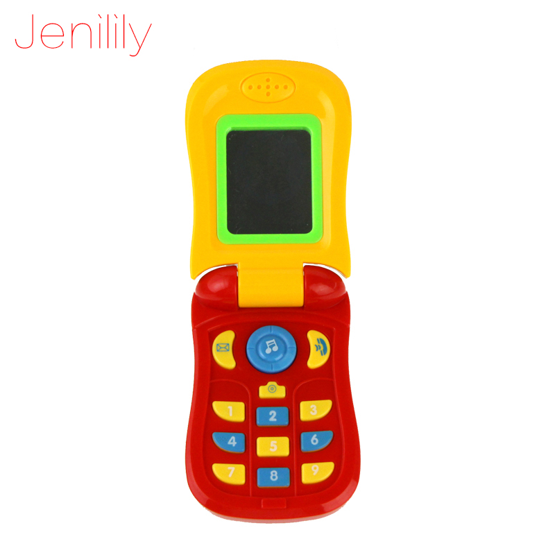 Jenilily 1003 Funny Flip phone toy Baby Learning Study Musical Sound phone Educational Toy mobile phone electric toy for kid image