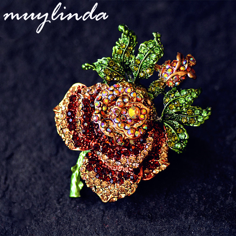 US $4 37 10% OFF|Aliexpress com : Buy muylinda Vintage Rose Flower Crystal  Brooch Pins Costume Jewelry Brooches Rhinestone Pin Women Scarf Clip Broche