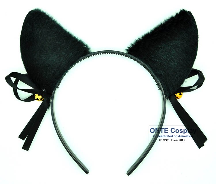 5pcs/lot Fashion Party Dress up Accessory Cat Ear with Bow Bell Lolita Cosplay Headwear for Halloween Hairwear Black / White