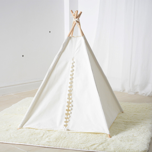 White Canvas Pom Pom Dog Teepee Pet Bed Cat Teepee Tent 24  with mat & White Canvas Pom Pom Dog Teepee Pet Bed Cat Teepee Tent 24