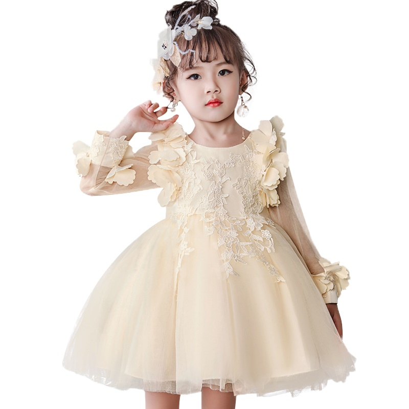 Hot Girl Dresses Long Sleeve Princess Party Dress Flower Mesh First Communion Dresses For Kids Children Clothing Baby Costume