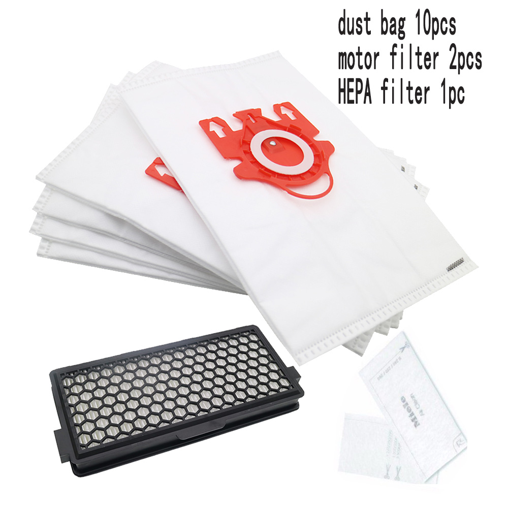 CLEAN DOLL 1 HEPA Filter 2 Motor Filter & 10 Dust Bags For Miele Vacuum Cleaner 3D GN S5000 S8000 Complete C2 C3 S5 S8 SF-50
