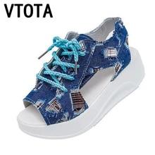 VTOTA Moda Mujeres Zapatos Suaves Sandalias del mollete Zapatos de Mujer Sandalias de Verano de Mezclilla Parche Cuñas Impermeables Sandalias de Plataforma X468