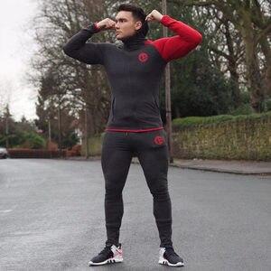 Image 3 - 秋新メンズスキニーソリッドカラー男性ジムフィットネスボディービルジョギングスポーツウェアカジュアルファッション綿のジッパーのジャケット