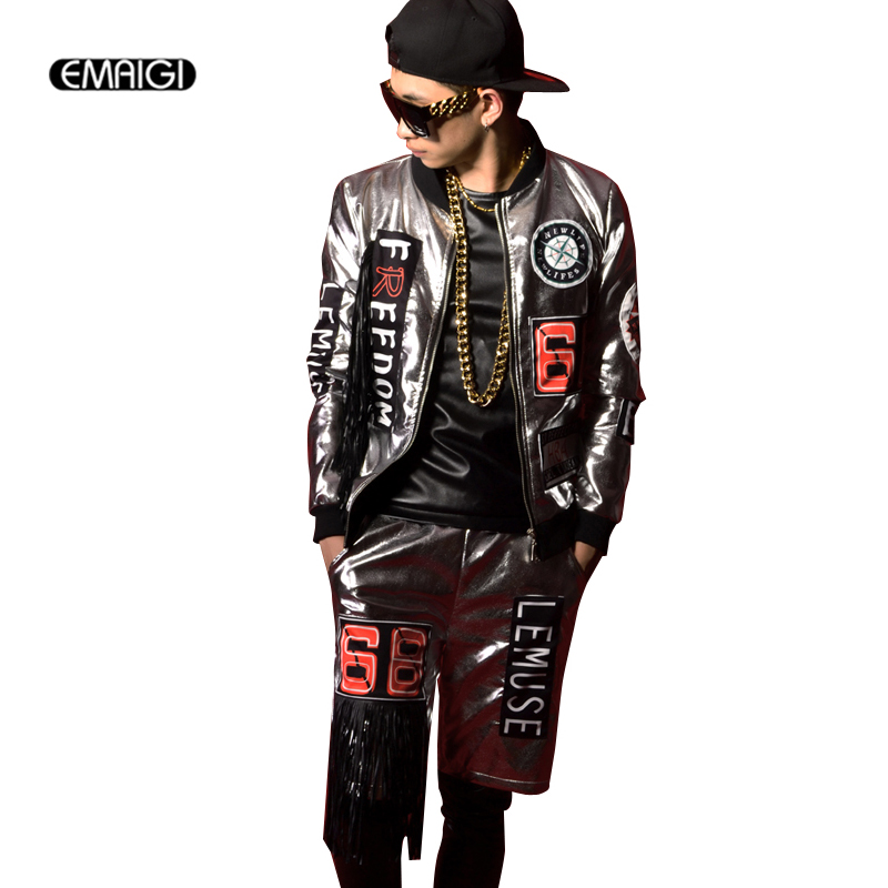 Custom Costumes Men Silver PU Tassel Stitching Rock Stage Show Clothing Male Fashion Hiphop Leather Jacket + Shorts