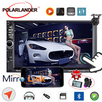 Touch Mirror Link Screen 7inch Steering Wheel Bluetooth 2DIN MP5 Video Player+Rear Camera GPS Car Radio Mirror For Android Phone