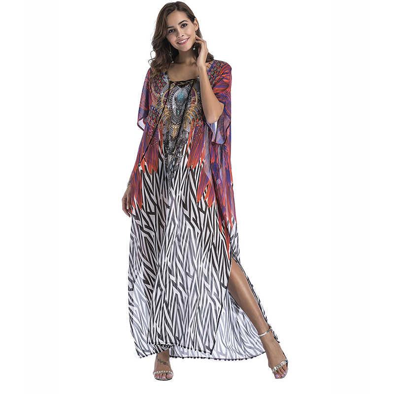 ... Lyprerazy Boho Leopard summer sundress Beach Sarongs large size robes  women Plus size Chiffon print Bohemian ... f78803067ed5