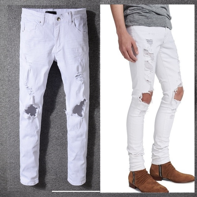 New Italy Style #5340# Men's Distressed Hollow Out Pants White Denim Skinny Jeans Slim Trousers Causaul Pant Size 28-40