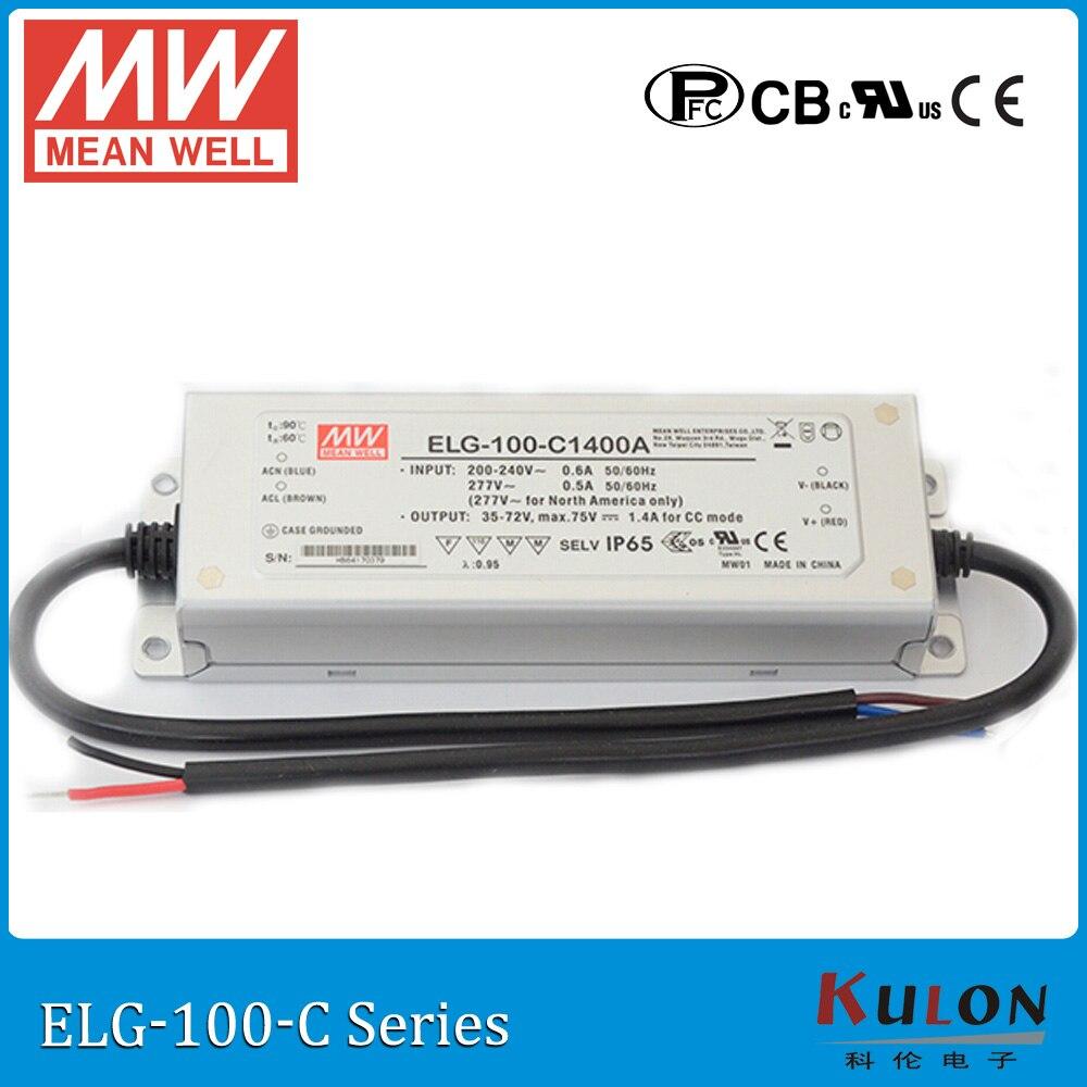 Original MEAN WELL ELG-100-C500A current adjustable LED driver 250~500mA 100~200V 100W PFC waterproof power supply ELG-100-C цена