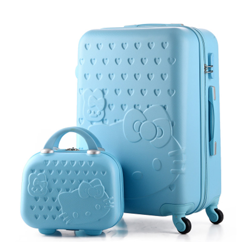 Hello Kitty valise 14 + 24 pouces bagages ensembles bagages à roulettes bagages durs ABS bagages sac de bande dessinée valise avec étui à cosmétiques