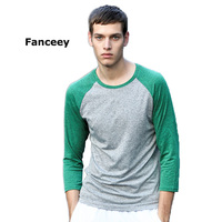 Fanceey Mens Fitness Running Shirts Tight 3 4 Sleeves Round Neck Tops Elastic Quick Dry Jerseys