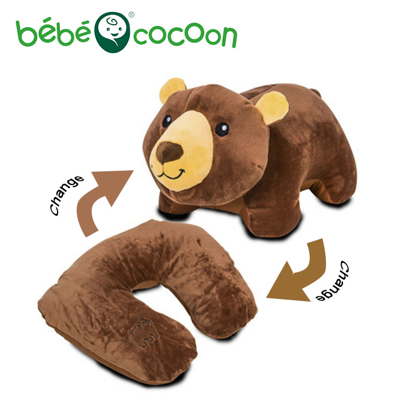 Bebecocoon Kawaii Ushaped Neck Pillow Teddy Bear/Frog/Rabbit Decorative Pillows Animal Plush Toy Multifunctional Travel Cushion