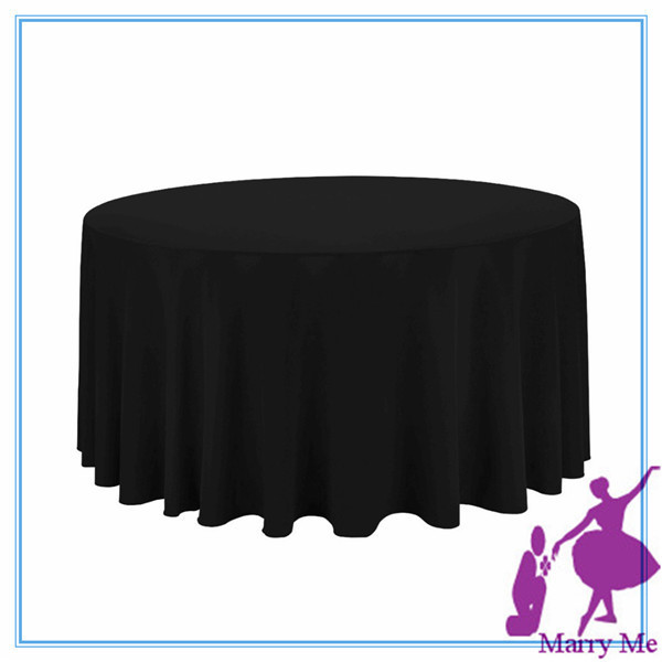Delicieux 80INCH Black Polyester Round Tablecloth