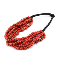 TNL407 Tibetan Antiqued Ethnic Red Coral Beads Necklace 20 Amazing Red Multi Layers Necklace