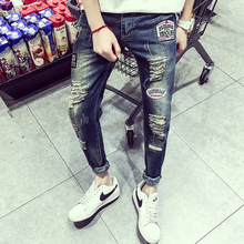 2016 Summer New Men's Jeans Hole Badge Embroidery Jeans Size Fat Pants Nine Feet