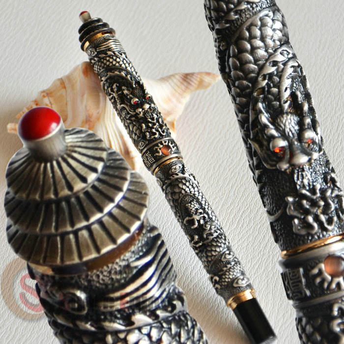 NOBLE JINHAO OLD GREY TWO DRAGON PLAY PEARL ROLLER BALL PEN PAGODA jinhao ancient dragon playing pearl roller ball pen with jewelry on top with original box free shipping