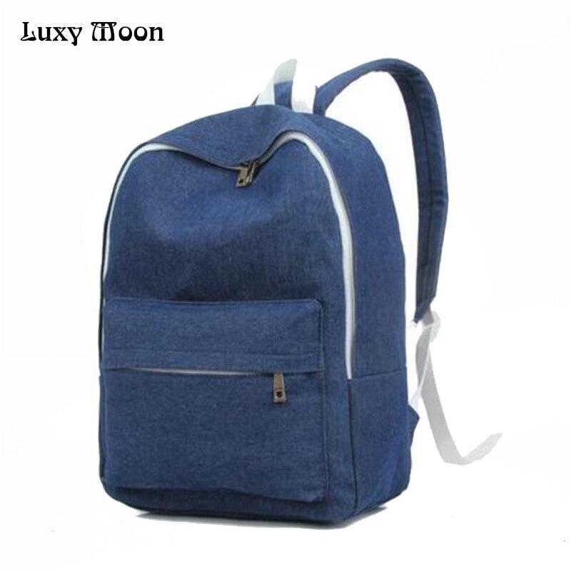 2016 Unisex Backpacks Denim Canvas School Bags Soft Jean Cloth Hand Washed Mochilas Escolares Men Women