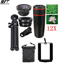 5in1 12X Zoom Camera Telephoto Lens Phone Telescope 3in1 Clip on Lens Kit Wide Angle Fish Eye Macro for iPhone Samsung xiaomi стоимость
