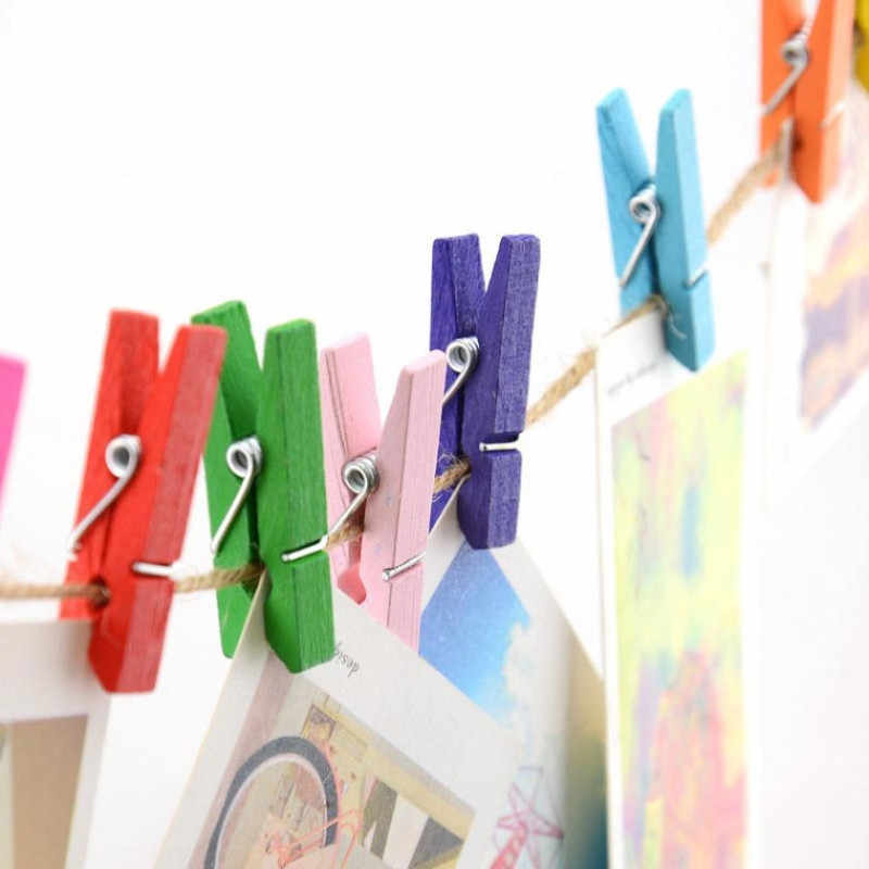 50 個ミニピン洗濯ばさみ服ペグ靴下クリップカラフルな木製家の装飾写真用紙クランプクラフト芸術クリップ