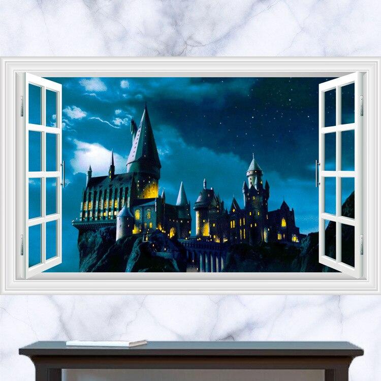 Aliexpress.com: Compre 3D Adesivos De Parede Harry Potter Escola De Magia  Castelo Cenário Janela Da Sala De Estar Wallpapers Mural Estéreo 60*90  Cm/50*70 Cm ... Part 77