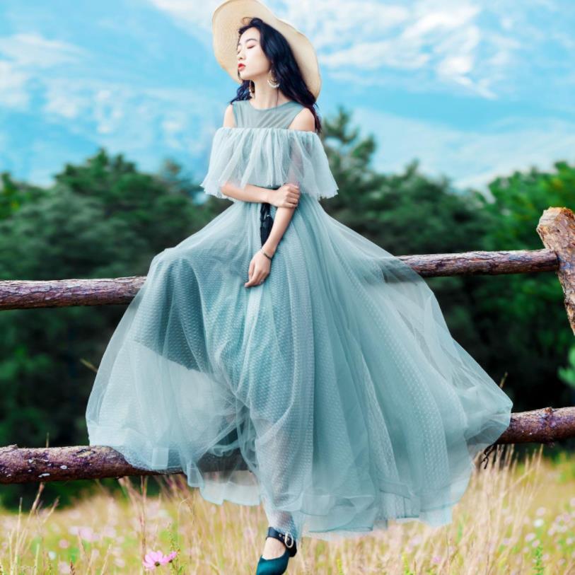 2019 printemps automne nouveau bretelles épaule vintage robe femme vert o-cou vacances robe femmes ceintures vêtements gx1688
