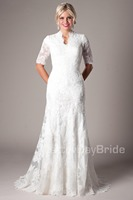 2016 New White Mermaid Long With Train Modest Short Sleeves Lace Women Wedding Dress Bridal Gowns With Sleeves