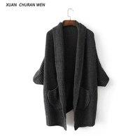 XUANCHURANWEN Autumn Open Stitch Loose Women Cardigan Plus Size Loose Sweater Long Design Knitwear Coat CC87149