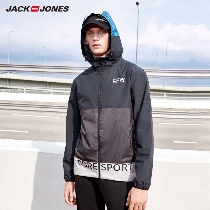 JackJones Men's Jacket Hooded Stand-up Collar Reflective Print Waterproof Jacket Hiphop 219121566
