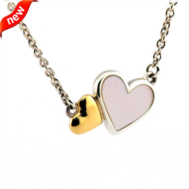 14K Real Gold Necklace Luminous Hearts Collier Pendants and Necklace 100% 925 Sterling Silver Fine Jewelry Free Shipping
