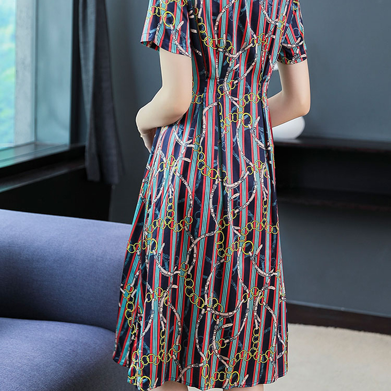 Plus Size Women Red Dress Silk Floral Print 2019 Summer Elegant Vintage Loose Party Dresses Button Turn down Collar Clothing in Dresses from Women 39 s Clothing