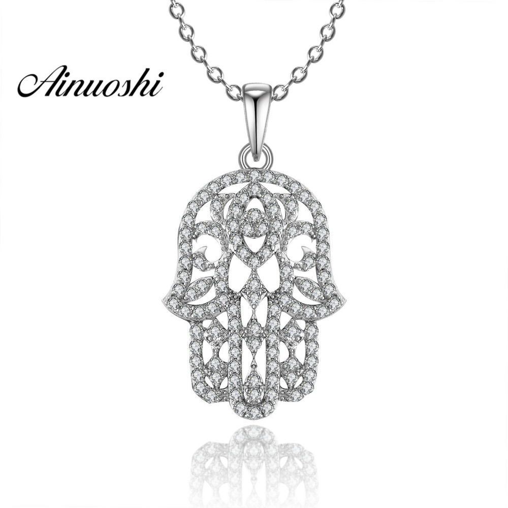 AINUOSHI collier pendentif en argent Sterling 925 de luxe pour femmes motif délicat fille longue chaîne collier de mariage bijoux en argent