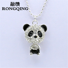 RONGQING 1pcs 2017 New Design Necklace & Pendant Trendy Jewelry Long Crystal Bear Pendant Necklace For Women Panda sweater chain
