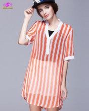 เสื้อแฟชั่นผู้หญิงขนาดบวกชีฟองรายได้เสื้อF Emme Vคอโพลีเอสเตอร์ปกติยอดขายตรงเสื้อผู้หญิงสองชิ้นชุด