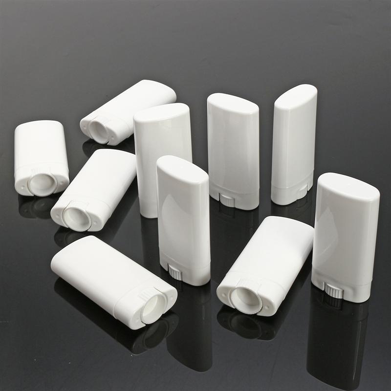 20/50/100 pces 15ml oval vazio lábio bálsamo tubo plástico branco sólido perfume desodorante recipientes portátil maquiagem batom tubos