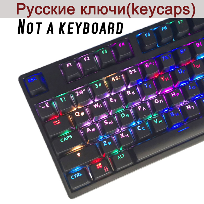 Computer & Office Black White Abs Russian Language Keycaps For Cherry Mx Switches Mechanical Keyboard Caps 108 Key Cap