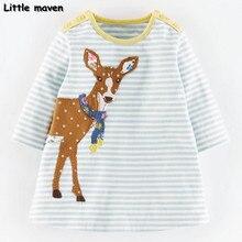 Little maven enfants marque vêtements 2017 nouveau printemps filles vêtements Coton petit cerf brodé fille A-ligne dépouillé robe D066