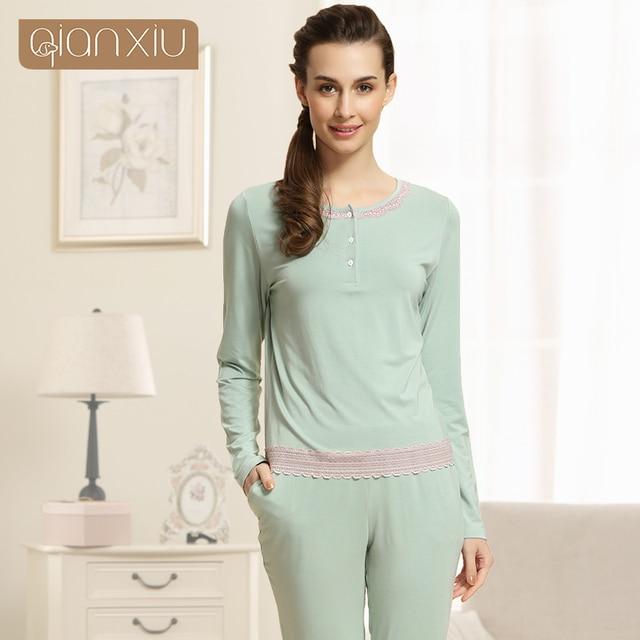 cc138a441 Qianxiu pijamas modales para las señoras o-cuello Encaje salón desgaste  mujeres de manga larga